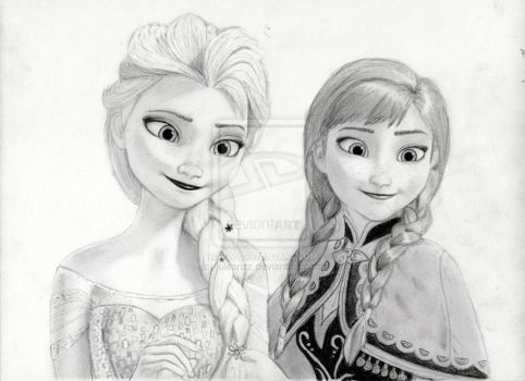 Elsa and Anna from Disney's Frozen by julesrizz