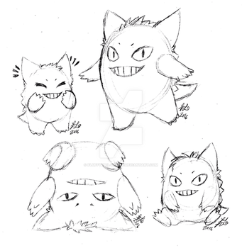 Fluffy puffy Gengars by Fluffytail-Zombie