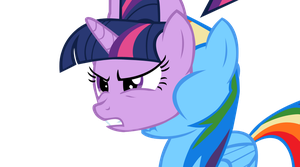 Twilight Sparkle In Rainbow Dash's Face by OrangePegasus