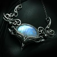 QARTIEELTH Silver and Rainbow Moonstone by LUNARIEEN