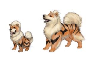 Growlithe and Arcanine by RtRadke