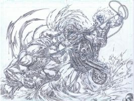 Ghost Rider vs Venom by emilcabaltierra
