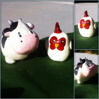 Harvest Moon Cow and Chicken Miniatures by tacoroach