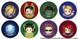 Avengers Buttons by ShadowsIllusionist