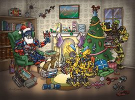 Transformers Christmas card by GeekingsCards