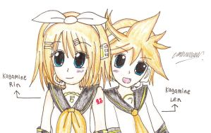 Fanart: Kagamine Rin and Len by Selinawen