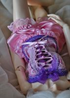 Candy pink and purple corset by ceressiass