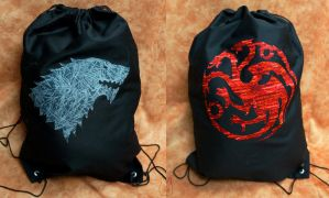 Game of Thrones Drawstring Backpacks by studioofmm