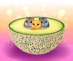 Melon and hamster by mizunasu