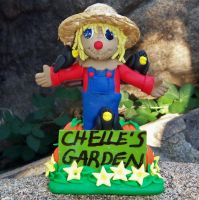 Personalized Scarecrow polymer clay sculpture by CreativeCritters