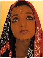Wistful Indian woman by nienor