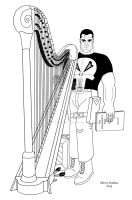 The Punisher and his harp by OwossoHarpist