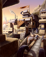 City in the mountains 2 by AHAMMONDART