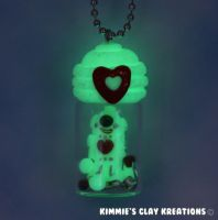 Polymer Clay Robot Figurine Charm Necklace by KIMMIESCLAYKREATIONS