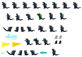 Super Godzilla Nes Sprite Shet by zillagamer