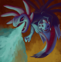 Hydreigon using Dragon Pulse by Haychel