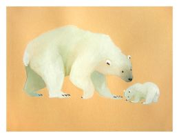 Polar Bear and cub by Duffzilla