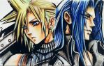 Sephiroph and Cloud FF7 by delirious-art