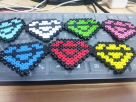 Perler Beads-Chaos Emeralds by bs-odile