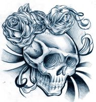 skully n flowers by WillemXSM