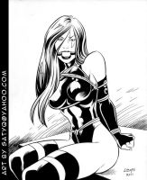 X-Men Psylocke Bondage ink art by SatyQ