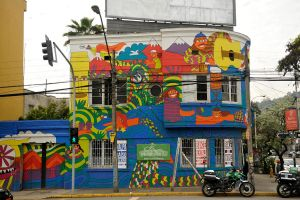 Painted building 1 - Santiago de Chile old town by wildplaces