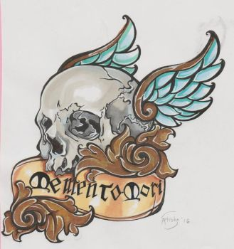 Memento Mori Tattoo design by Cuddlebunnieluv