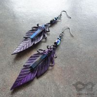 Purple Leather Earrings With Indigo Aura Quartz by Beadmask