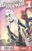 Amazing Spider-Man Black Cat sketch cover by shinlyle