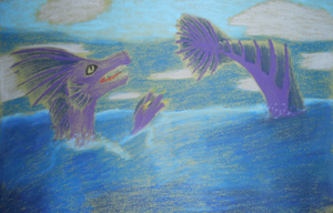 Oil Pastel Sea Dragon by ashe-the-hedgehog