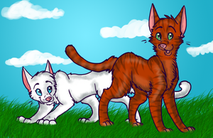Foxleap and Icecloud. by XWildheartX