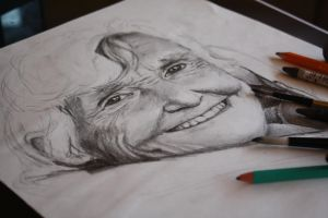 Drawing Of My Nan - WIP by ElizaVanVeen