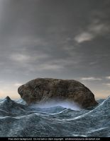 Free Stock Background:  Rock in Rough Ocean by ArtReferenceSource