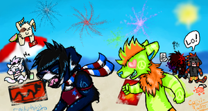Fourth of July Collab by Wolfy-Artist