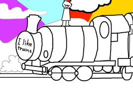 Old Drawing: I Like Trains Kid by xOAVRILOx