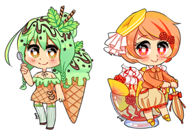 Ice Cream Adopts: Mint + Peach CLOSED by Amphany