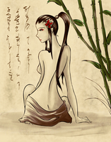 Woman and Bamboo by miaki