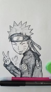 Naruto Uzumaki - Gift for a friend by VaporeonDraws