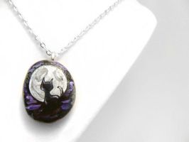 Black Cat, Full Moon Pendant Necklace by sobeyondthis