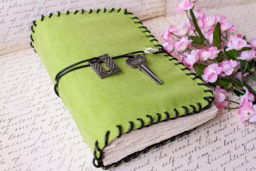 Lime Green Suede Blank Book - Handmade by GoldCoinComics
