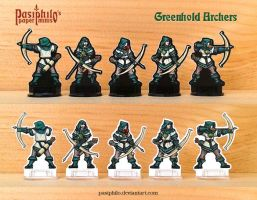 Greenhold Archers 28mm Paper Miniatures by Pasiphilo