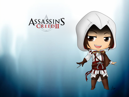 ACII - Chibi Ezio - Wall by Mibu-no-ookami