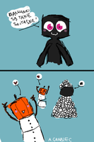 Enderman and Snow Golems by WheatPodlaska