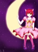 Cat on the Moon by 5ammay