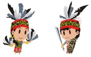 Dayak Boy and Girl by pinniped