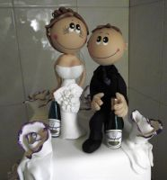 Tristan And Sharon's Wedding Cake Figures by elyobkram