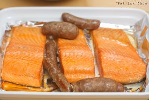 Salmon and sausage by patchow