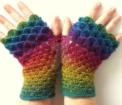 Jewels II - Dragon Gloves by FearlessFibreArts