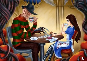 Mad Tea Party: Alice VS Freddy Krueger by Lord--Opal