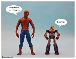 Spidey makes fun of Grendizer by Mishari-Alreshaid